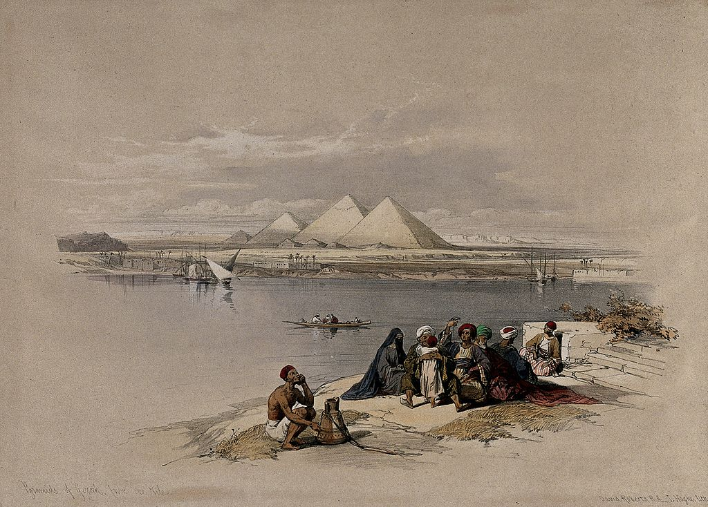 boat_on_the_river_nile_looking_towards_the_pyramids_at_saqqa_wellcome_v0049306.jpg
